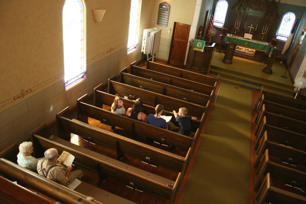 Before worship services on a Sunday morning at Trinity Lutheran Church, North Morristown.