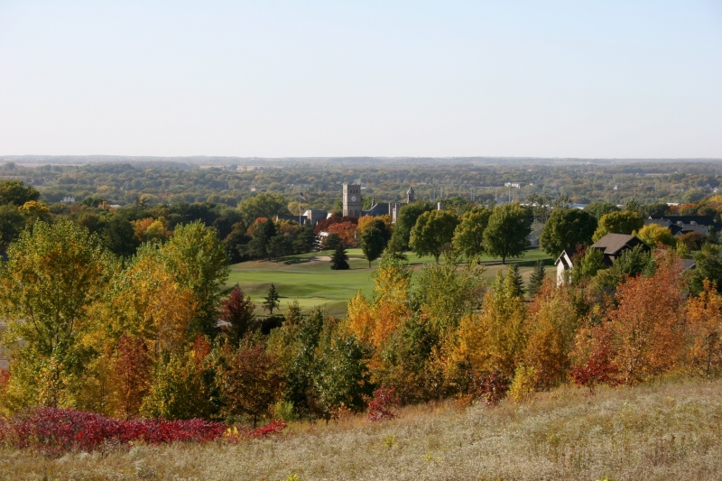 In the distance you can see the clock tower on Shumway Hall at Shattuck-St. Mary's School in Faribault, photographed last fall from City View Park.
