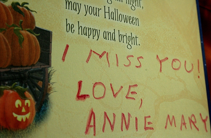 A card I received from Annie Mary on a past Halloween.