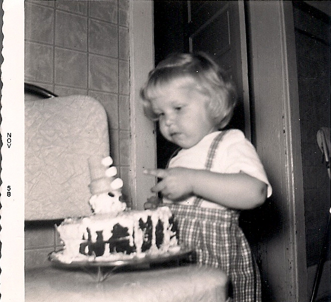 My second birthday and the clown cake my mom made for me.