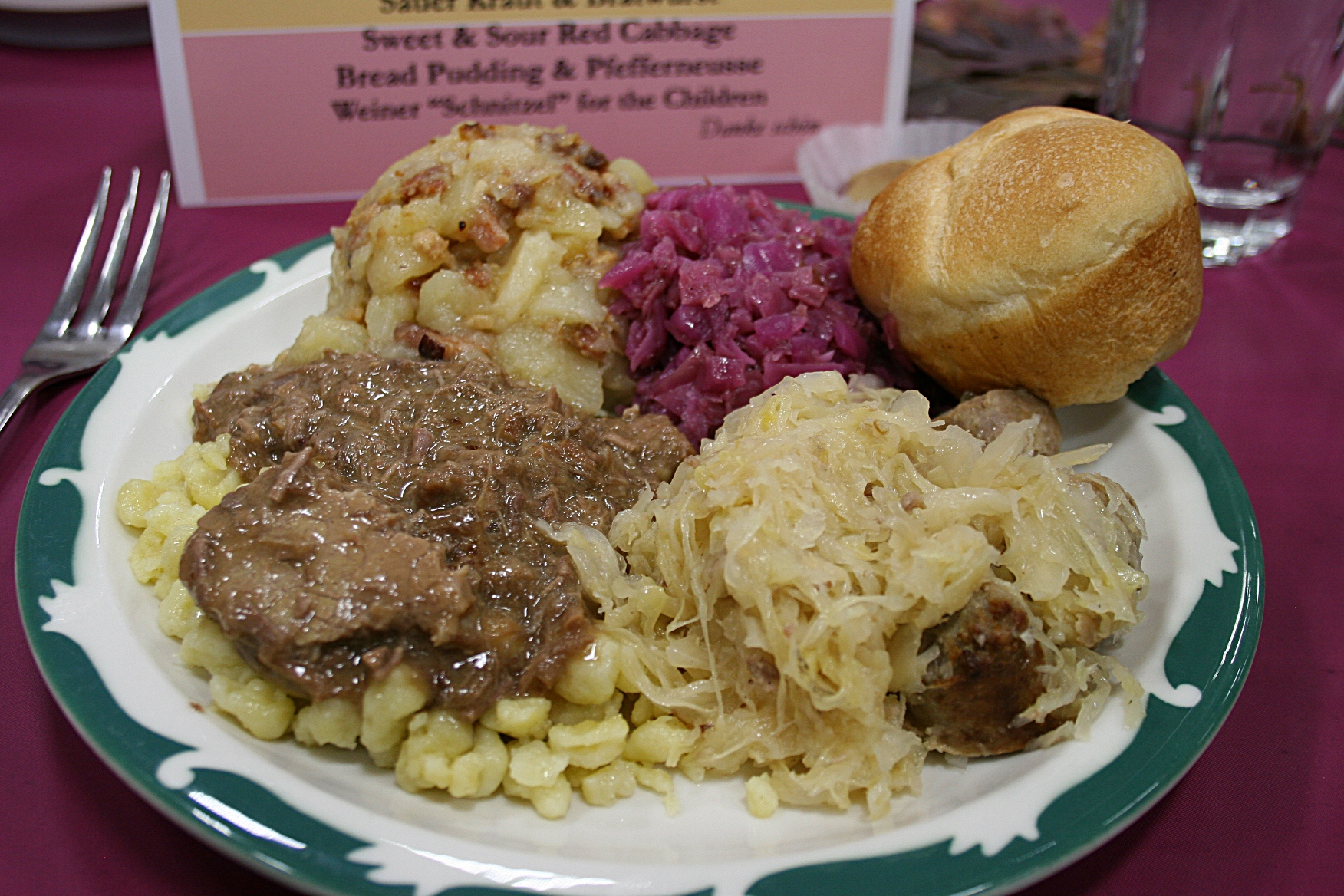 The 2011 CVLHS German meal: sauerbraten and spaetzle on the left