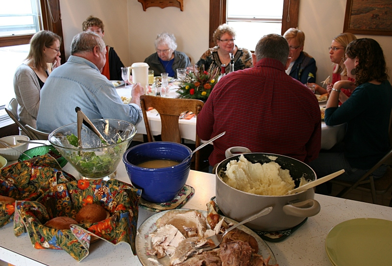 Thanksgiving Day dinner at my house with family.
