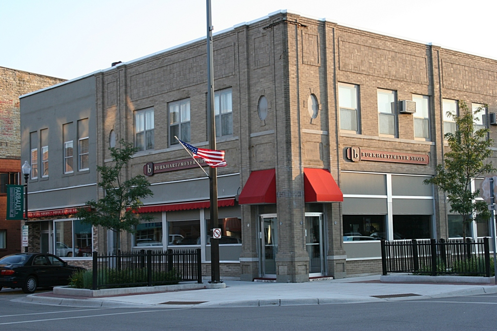 Burkhartzmeyer Shoes, a family-owned shoe store along Central Avenue in Faribault.