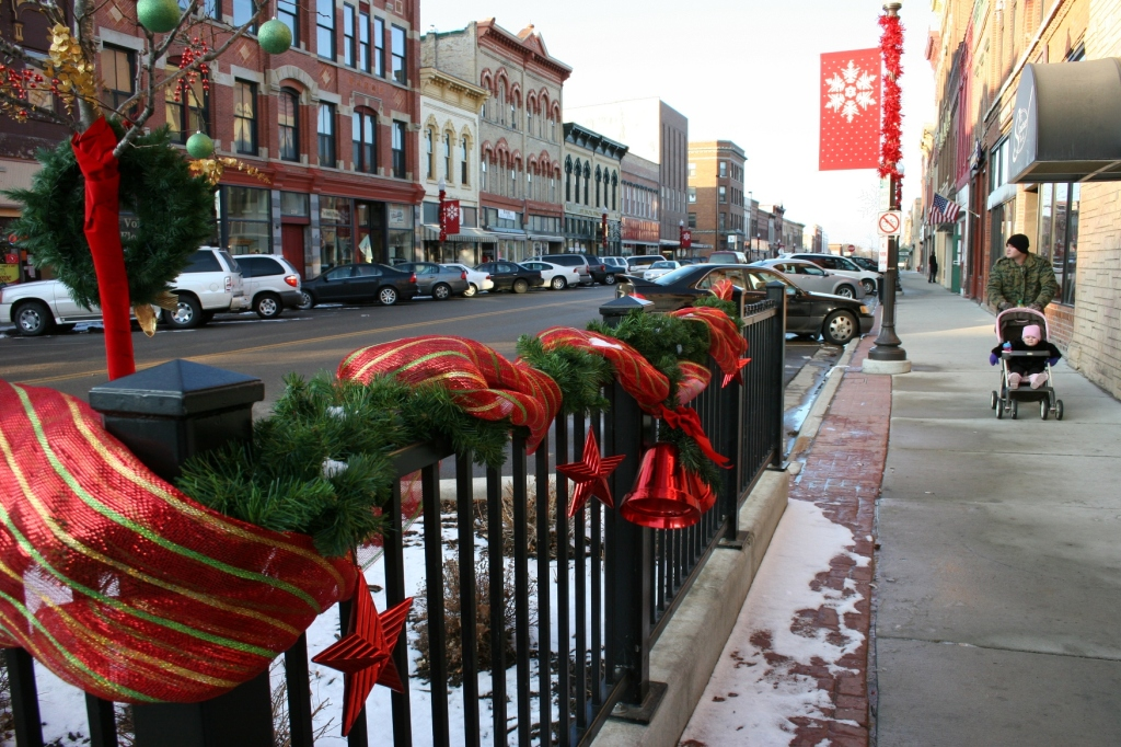 Strolling along Central Avenue in historic downtown Faribault late on a Saturday afternoon in December 2011.
