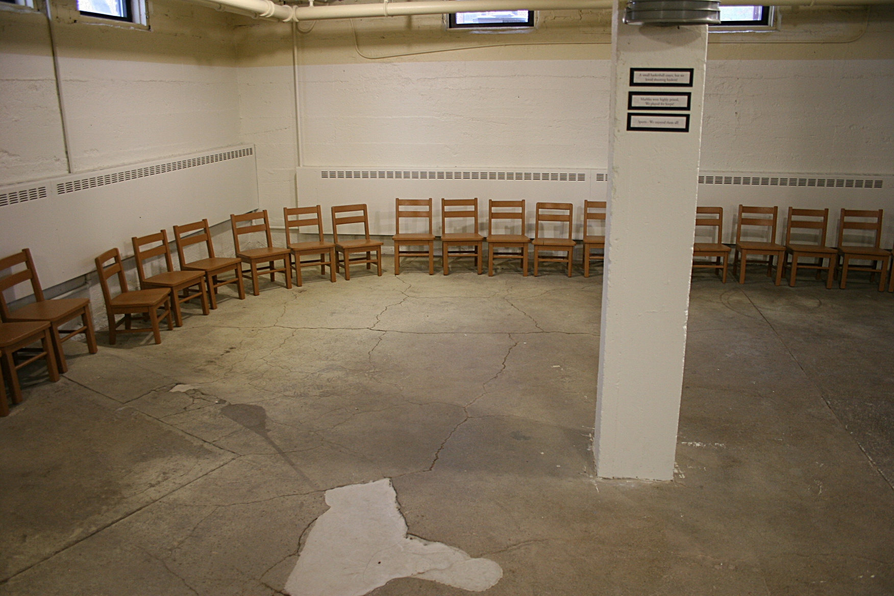each boy was assigned a chair in the basement the chair kept order