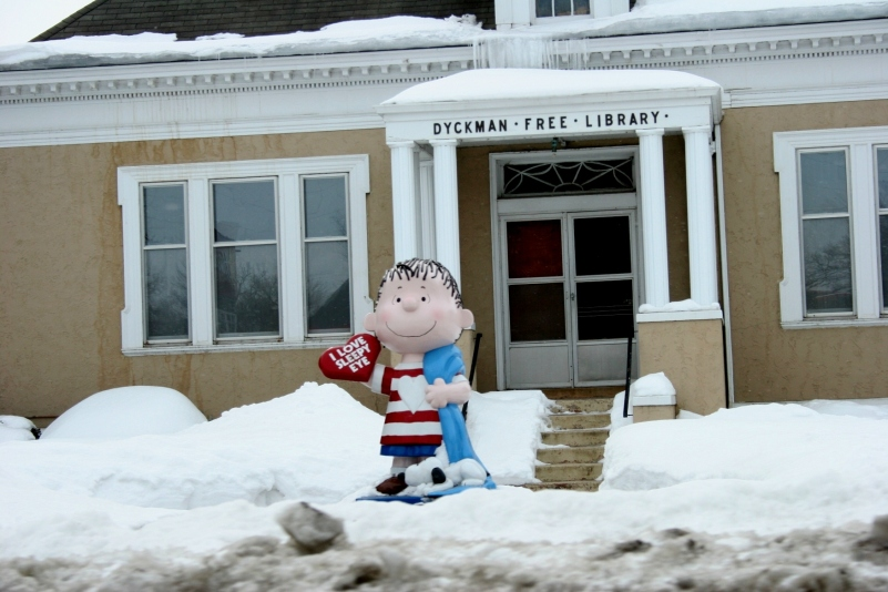 A statue of Linus greets visitors to the Dyckman Free Library in Sleepy Eye. Charles M. Schulz, creator of the Peanuts cartoons, based his character Linus on real-life friend Linus Maurer, a Sleepy Eye native. Maurer, a cartoonist, worked with Schulz. Ohman, who managed the former Camp Snoopy at the Mall of America, includes a photo of Linus at the Sleepy Eye library in his book.