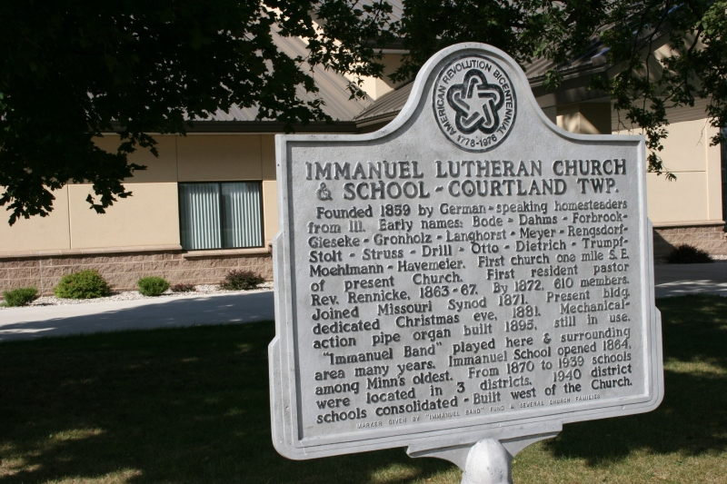 A historical sign outside of Immanuel Lutheran Church, east of Courtland, Minnesota.