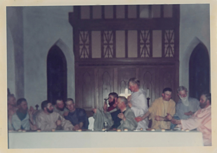 St. John's members portray the disciples in this undated vintage photo, the first record of a photograph from The Last Supper Drama. Actors, from left to right, are Luverne Hafemeyere, Earl Meese, Vicgtor Luedke, Howard Meese, Virgil Bosshart, Arnold Keller, P.L. Golden, Alvin bosshart, Paul Bauer, Elmer Covert Sr. and Arnold Bauer. Photo courtesy of St. John's.