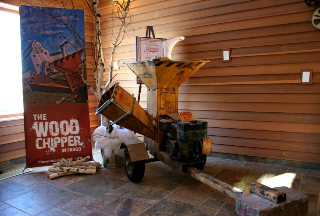 The famous woodchipper from the movie, Fargo, is a focal point in the Visitors Center. Other film memorabilia is also on display.