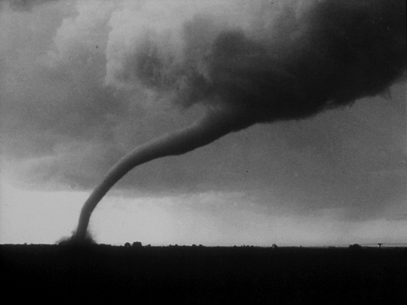 Eric Lantz, 16, of Walnut Grove, shot this award-winning photo of the Tracy tornado as it was leaving town. He often took photos for the Walnut Grove Tribune, owned by his uncle, Everett Lantz. This image by Eric was awarded third place in the 1968 National Newspaper Association contest for best news photo.