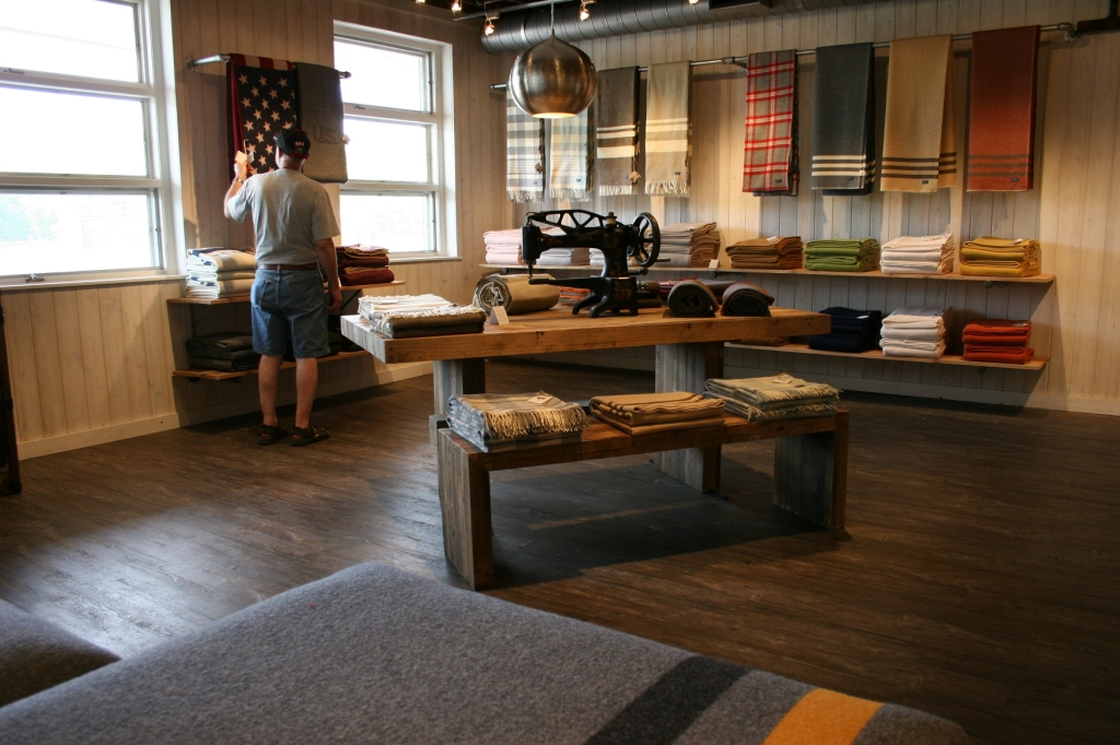 Perusing merchandise at the recently reopened Faribault Woolen Mill retail store.