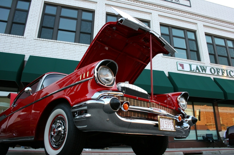 A 1957 Chevrolet Bel Air, parked along Central Avenue in downtown Faribault during the July 20 Faribault Car Cruise Night.