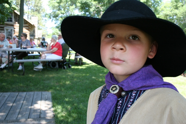 Five-year-old David of Faribault, aka Apache Shadow, was among costumed reenactors from the Old West Regulators at the extravaganza.