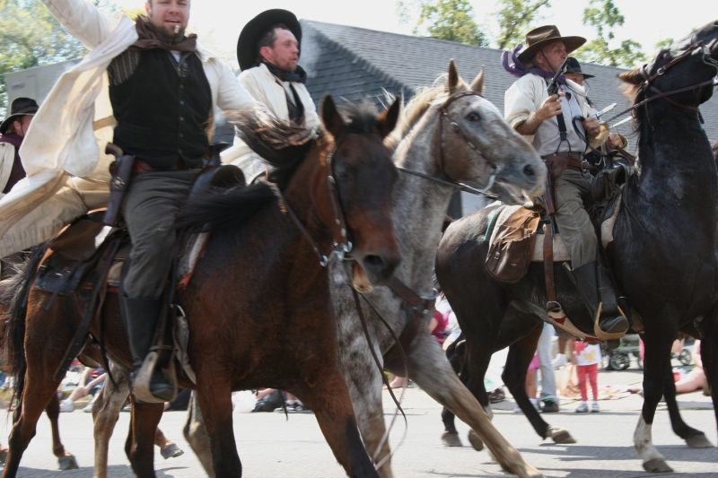 The James-Younger Gang shooting it out during The Defeat of Jesse James parade perhaps five years ago.