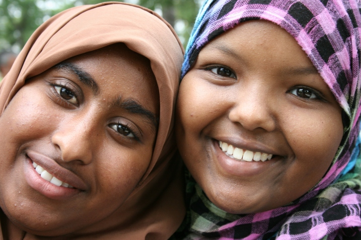 Friends, Nimo Abdi, a sophomore at Faribault High School, left, and Nasteho Farah, a senior.