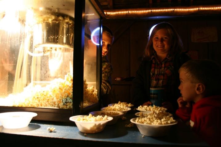The kids served popcorn.