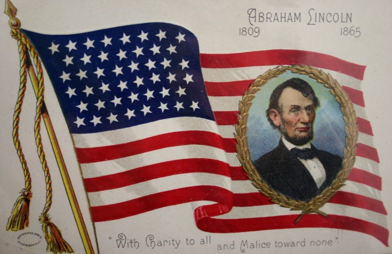A Lincoln postcard which a collector brought to a Cannon Valley Civil War Roundtable meeting several years ago.