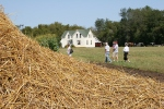 Threshing, straw pile