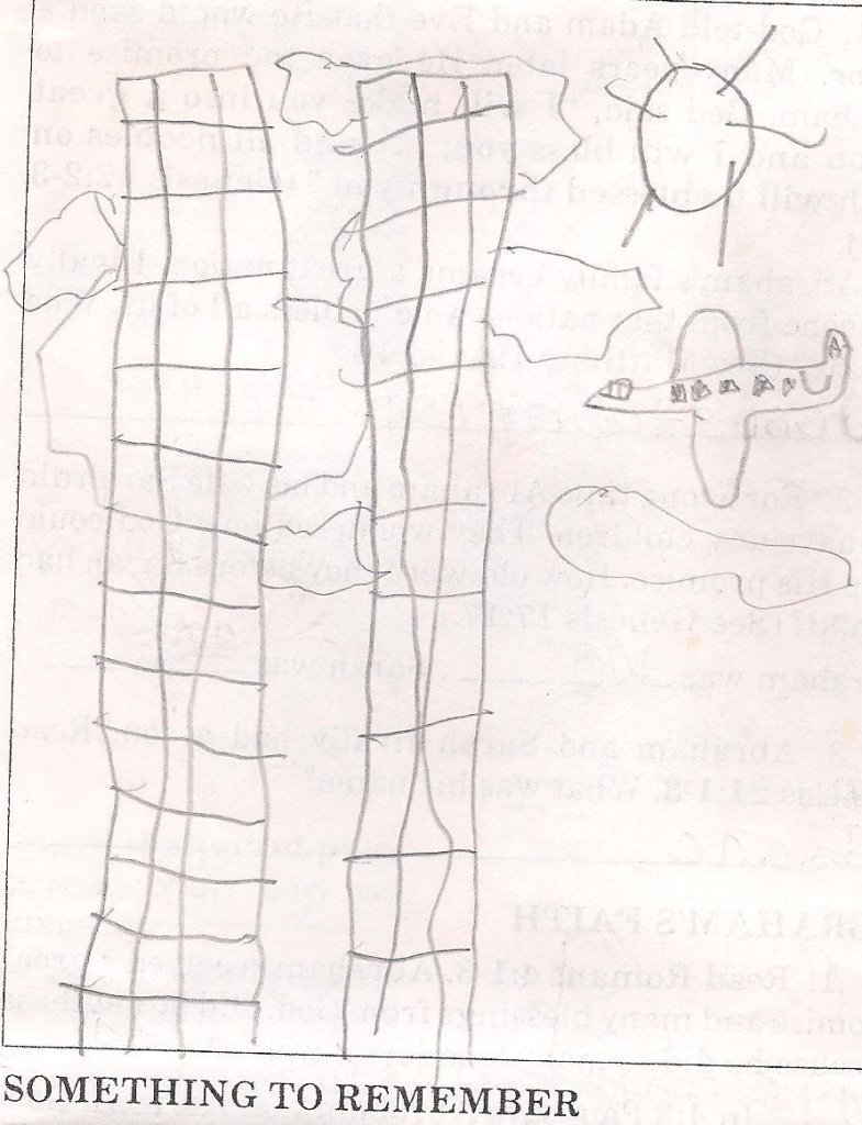 My then 8-year-old son drew this picture of a plane aimed for the twin towers a year after 9/11 for a school religion assignment. He was a third grader in a Christian school at the time and needed to think of a time when it was hard to trust God by drawing a photo illustrating that time. To this day, this drawing by my boy illustrates to me how deeply 9/11 impacted even the youngest among us