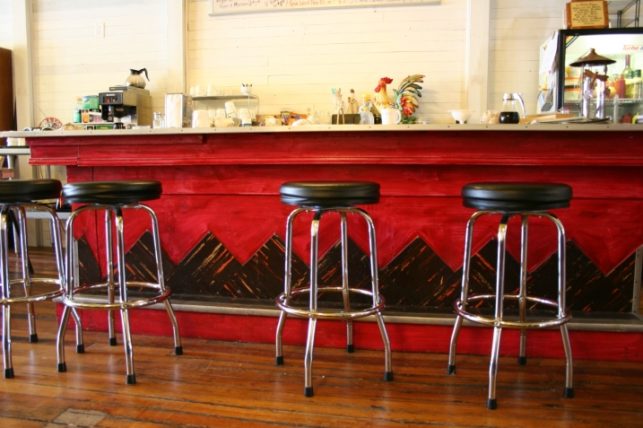 The absolutely fabulous lunch counter at the Highland Cafe.