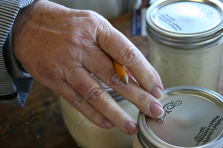 My Mom counts the jars of horseradish.