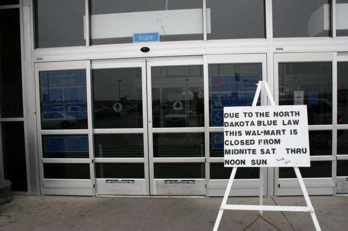 The sign posted in front of the West Fargo Walmart on Sunday morning.