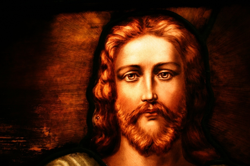 A photo of Christ's face from a stained glass window in my church, Trinity Lutheran, Faribault.