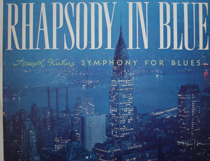 """This album cover has nothing to do with the Trans-Siberian Orchestra except the location, New York City. Joe Krush created this cover photo for Joseph Kuhn's 1958 """"Symphony for Blues""""  record album cover. I recently purchased 10 vintage records at the Faribault Salvation Army for the cover art. If I own a record player, I'm not sure where it's stored or if it works."""