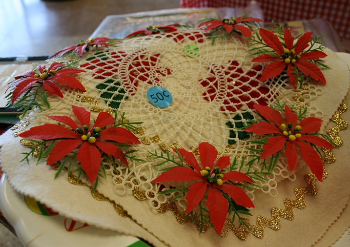 A holiday doily crocheted years ago by some crafty crafter.