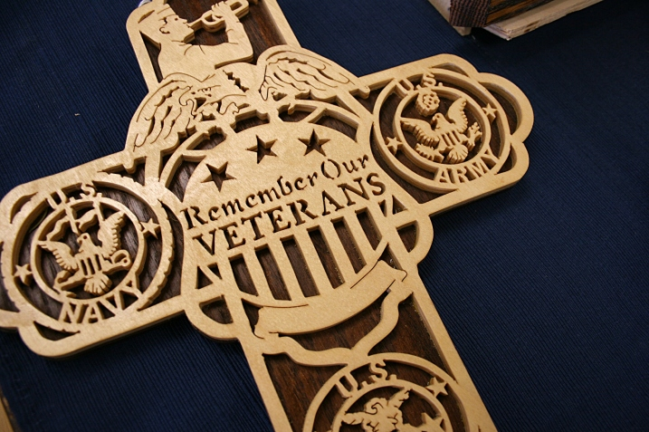 A snippet of the cross Bud Paschke crafted honoring veterans from all branches of the military.