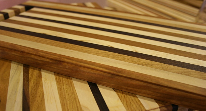 Chuck Henry's cutting boards crafted from reclaimed wood scraps.