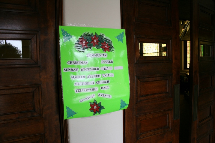 Three sets of heavy wooden doors lead into the sanctuary. To read about the Community Christmas Dinner, check my December 17 post.
