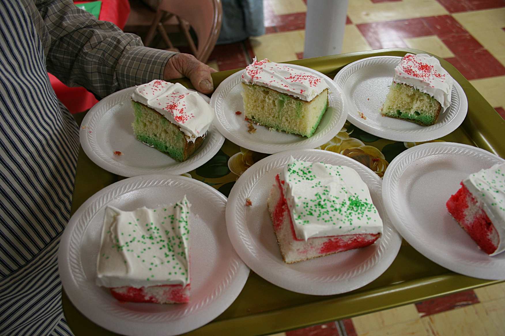 And another worker handed out Christmas cake.