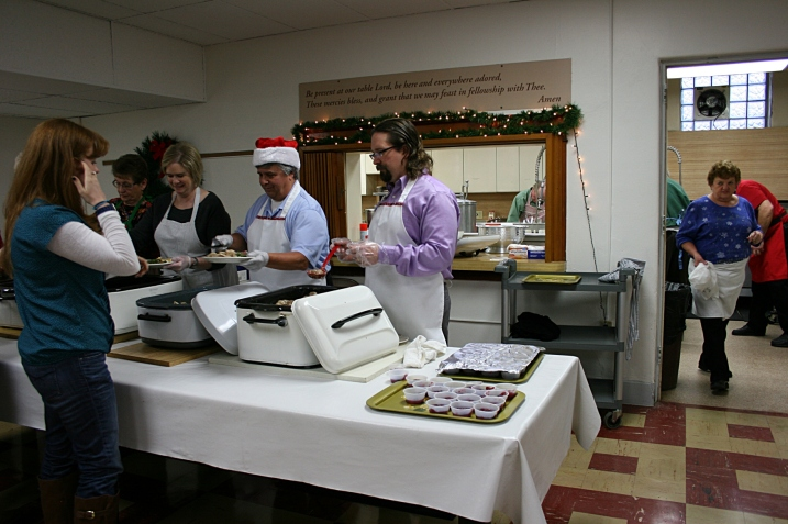 A sampling of the volunteer crew it takes to put on the Christmas dinner.