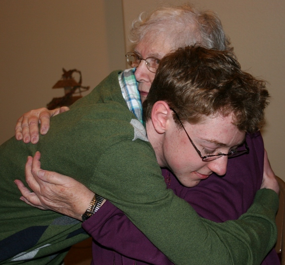 One of my favorite candid shots, my son embracing his grandma, whom he had not seen since July Fourth.