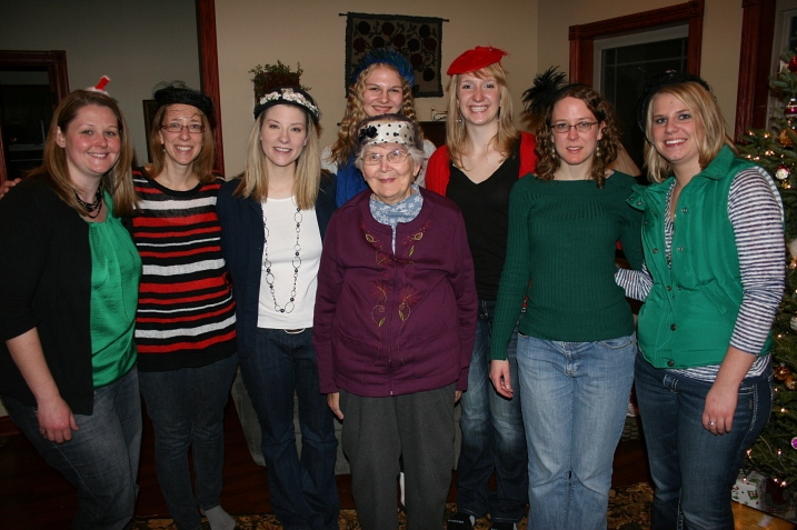Last year my sister Lanae brought vintage hats for all the women to wear. Here most of the granddaughters pose with grandma.