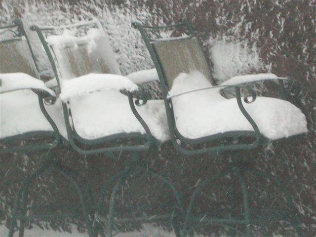 Snow layers on patio chairs, rural Lamberton. Photo by Brian Kletscher.