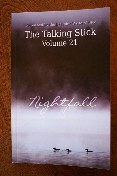 The cover of The Talking Stick, Volume 21, Nightfall, also has a Minnesota bend with a stock photo of loons on a lake from iStockphoto.com.