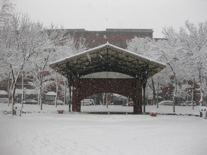 The Mears Park Stage in downtown St. Paul early this afternoon. Photo by Marc Schmidt.