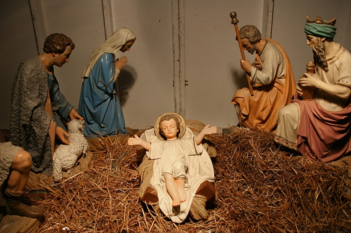 This Nativity set, donated, I believe, by the Knights of Columbus, is a rich part of my community's history and a work of art. If anyone knows the history of this Nativity set, please submit a comment with details.