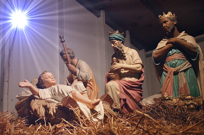 "Although the wise men did not arrive at the birth of Christ, they are typically depicted in nativities. I added the ""star"" with an editing tool to enhance the image."