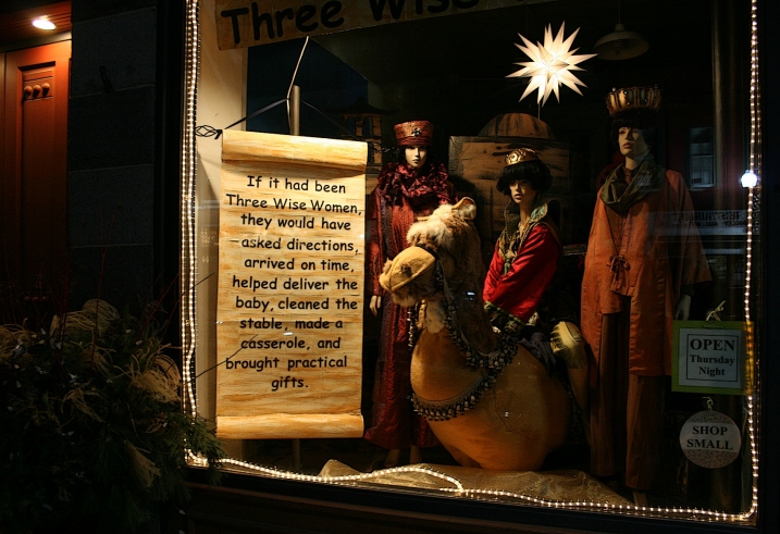 The holiday window display at The Crafty Maven, 212 Central Avenue, Faribault.