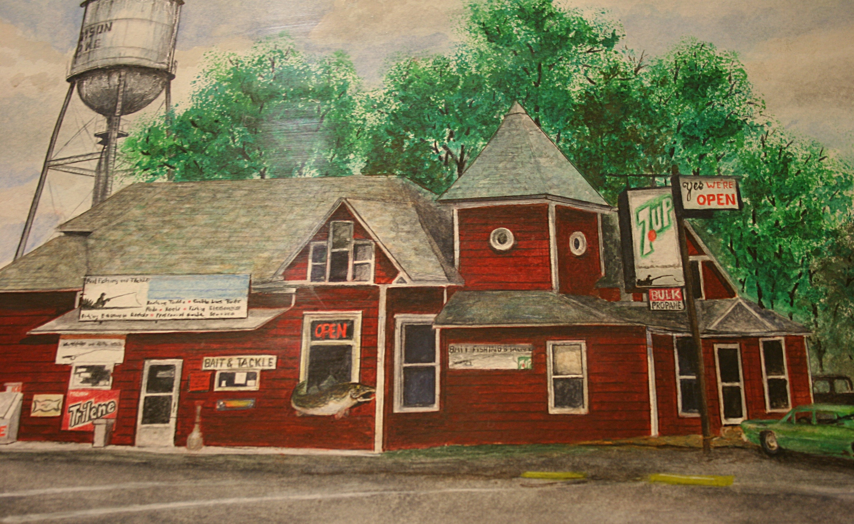 """Marcus Moller's """"Madison Lake Bait Shop"""" in watercolor."""