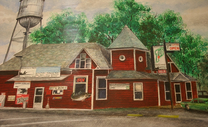 "Marcus Moller's ""Madison Lake Bait Shop"" in watercolor."