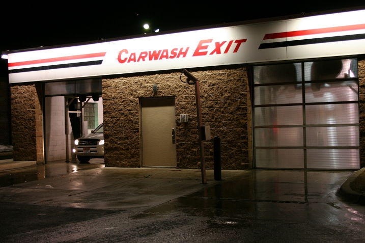 Exiting the car wash (exhibit).
