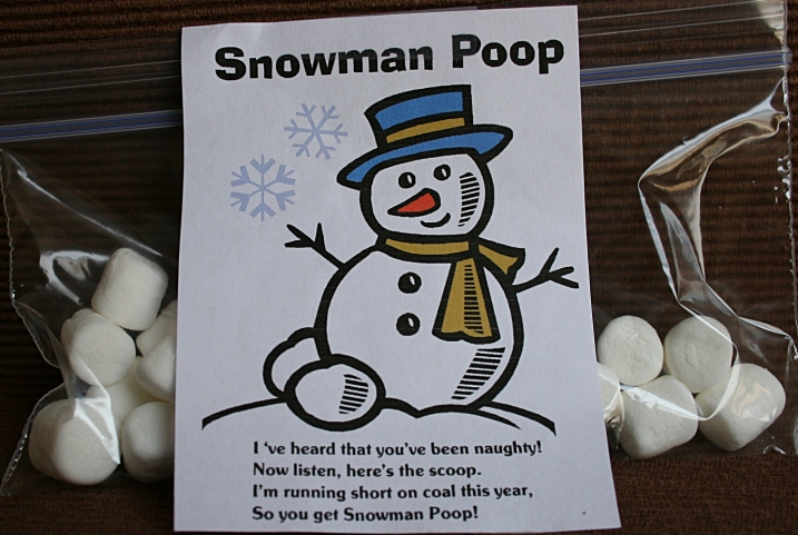 We competed for prize packages like this snowman poop.