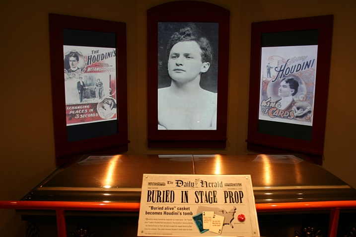 """Upon his death, Houdini was buried in a stage prop, his """"buried alive"""" casket, introduced on his final tour in 1926. He escaped the staged burial in under two minutes."""