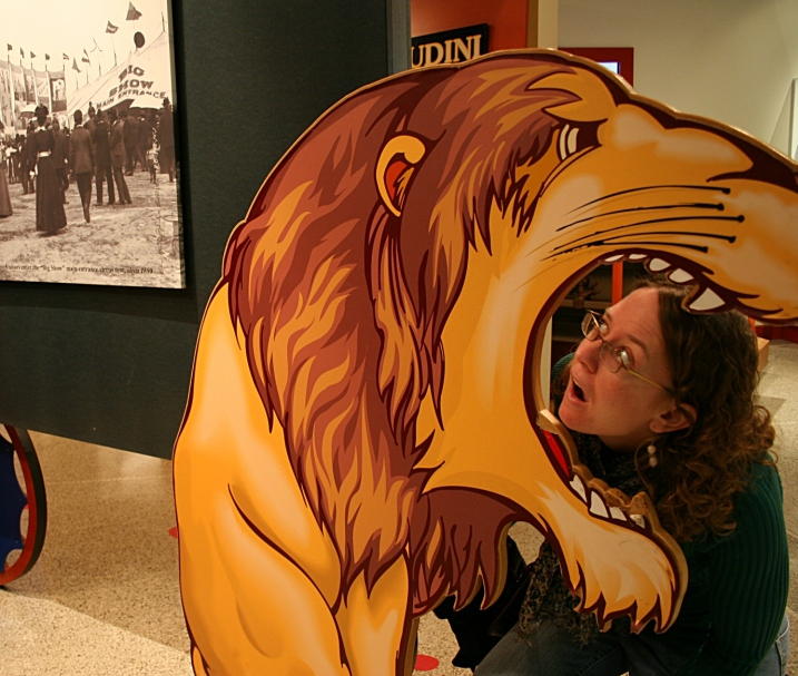 Be sure to pose with the lion head, a tribute to Houdini's early fascination with traveling circuses.