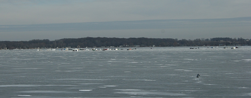 A recent ice fishing scene from Lake Mazaska west of Faribault in Shieldsville.