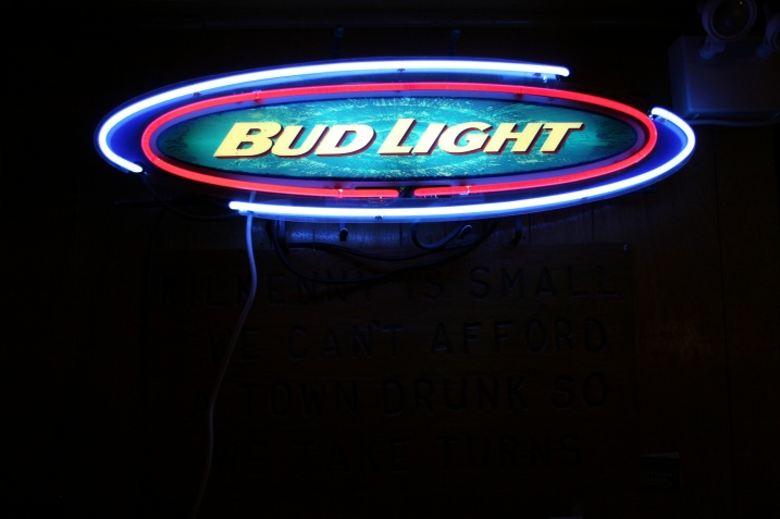 Lots of neon beer signs.